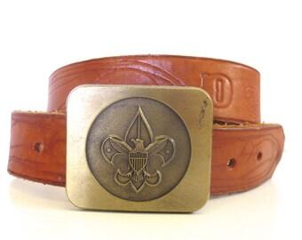Vintage Tooled Leather Boy Scout Belt