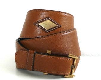 Vintage Etienne Aigner Diamonds Leather Belt // Size 30