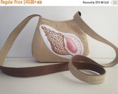Small crossbody bag handmade with cotton tan pink brown fabric with Sea shell appliques Perfect gift beach lover purse, caroljoyfashions77