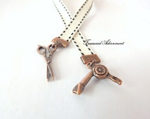 Bookmark, Hairstylist Bookmark, Antiqued Copper charms Stitched Ribbon Bookmark , Gift  for Hairstylist,  Bookworm, scissors, hair dryer
