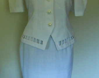 Vintage 80s by Leslie Lucks White Women's Wedding Mother of Bride Dress Suit   Size 10