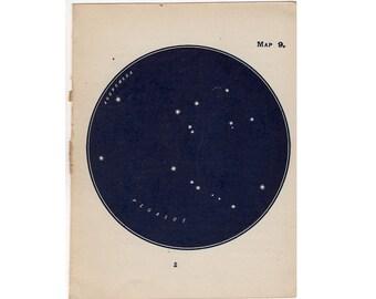 1910 mini constellation figures original antique celestial astronomy print -  map 9