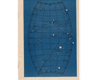 1946 astronomy star map original vintage celestial print - map 5