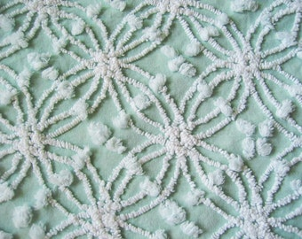 """Cabin Crafts Mint Green and White Double Wedding Ring and Pops Vintage Chenille Bedspread Fabric 24"""" x 24"""""""