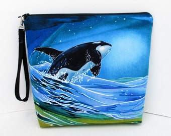 Tall Zippered Pouch, Wild Whales of the Pacific, Cosmetic Bag, Knitting Project Bag
