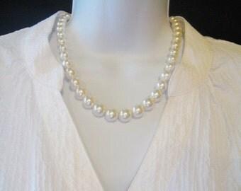 CIJ SALE Swarovski Crystal White Pearl Necklace - Classic Pearl Necklace - Graduated White Pearl Necklace - Bridal Necklace - Pearl Jewelry