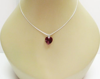 40% off Petite Amethyst Heart Necklace - Pendant On A Chain - Crystal Heart Necklace - Womens Jewelry - More Colors Available