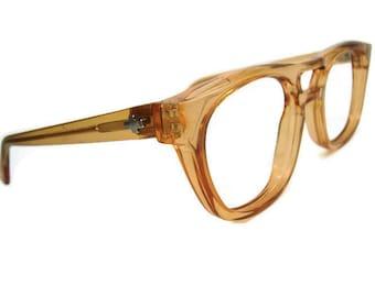 Vintage Mens Brown Hornrim Cateye Eyeglasses Eyewear Frame NOS