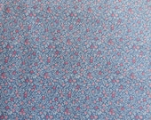 Floral Cotton Fabric -  Pink Flower Hearts on Blue - 3 yards