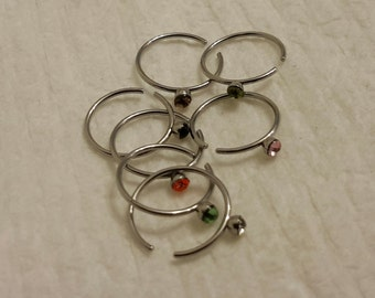 1 - Stainless Steel Nose Rings, with Grade A Rhinestones