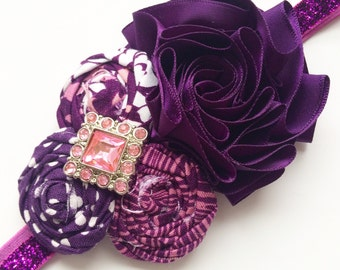 Holiday Sparkle headband - Plum Purple and Pink- (Ready to Ship)