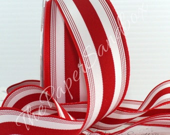 """Red & White Striped Ribbon, Red Ribbon, 1.5"""" wide, Christmas Ribbon, Gift Wrapping, Party Supplies, Crafts, Home Decor, Wreaths, Sewing"""