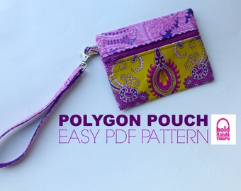 PDF PATTERN - Polygon Pouch - 3 Easy Zipper Pouch Wristlets - Phone Case - Gadget Keeper - Make Up Bag