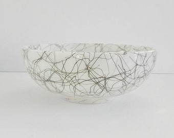 Large Spaghetti String Serving Bowl. Hazel Atlas White Glass Bowl with Black String Design.