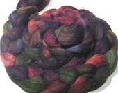 Polwarth & tussah silk hand dyed roving 4.7 oz Rustling Leaves - hand painted spinning felting fiber - autumn wool combed top - earthy fiber