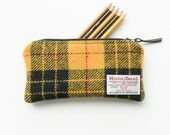 HARRIS TWEED pencil case, MacLeod of Lewis yellow and black tartan, handwoven and made in Scotland
