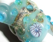 "Dreaded ""Undersea Treasure""... Lampwork Glass Bead Dread bead 8mm hole aqua sea sparkle shell starfish silver Dreadlock Beatlebaby"