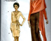 UNCUT Vogue 8463 Sewing Pattern : Wrap Crossover Top with Skirt and Shawl Jacket Wrap with Pants   Size Lg and XLG