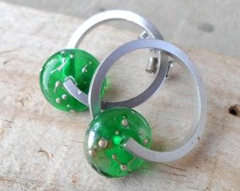 Lampwork Earrings, Rhodium Plated Glass Hoop Earrings, Handmade Jewelry, Unique Handmade Glass Beaded Jewelry Gift for Her