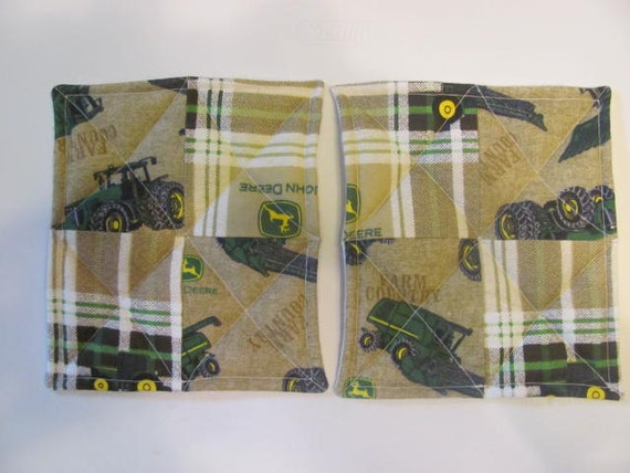 john deere tractors inspired flannel pot holders hot pads john