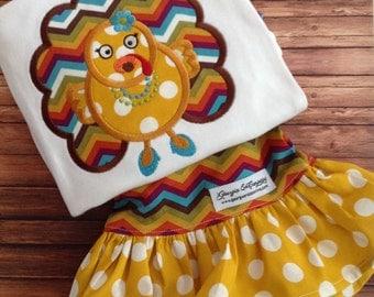 Fall Thanksgiving Ready to Ship Girls Baby Girls Turkey Ruffle Pants Set Newborn to Size 8