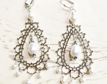 Bollywood Earrings Morocco Bridal Pearl Silver Lace by MinouBazaar