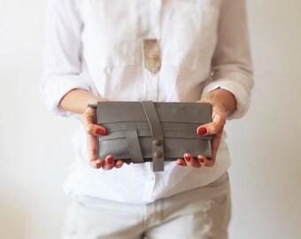 Gray wallet - leather women wallet