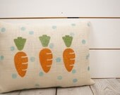 Burlap pillow, throw pillow, easter pillow, easter decorations, Spring decor, accent pillow, hand painted decor, primitive carrots,