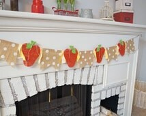 Strawberry Garland, berry banner, strawberry banner, burlap banner, strawberry fabric, berry garland, home decor, kitchen decorations