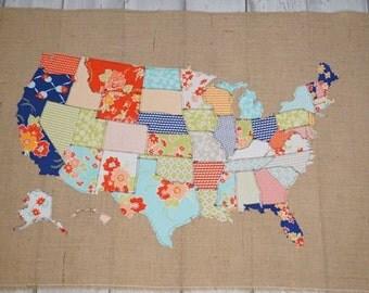 Fabric Map, United States, Scrap map, Moda fabric, Miss Kate, girls room, wall art, US Map, home decor, farmhouse decor, kitchen decor