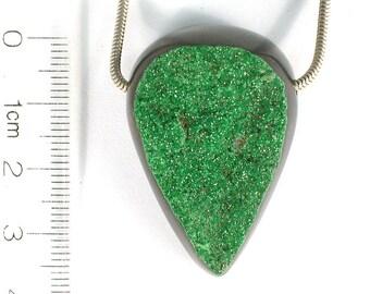 DVH  152ct Uvarovite Garnet Bead Green Druzy Crystal RARE 38x26x15 (7340)