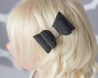 Black hair bow, black glitter hair bow, girl hair accessories, baby bow, wedding hair bow, toddler bow, girl hair clip, girl birthday gift
