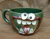 Large Silly Soup Bowl with Handle. Big Latte Cappuccino Mug. Googly Eyes Enthusiastic Dramatic Face Mug. Green and Microwave Safe