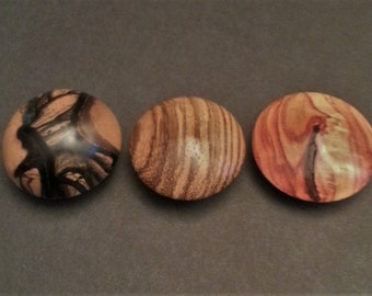 Exotic Black & White Ebony - Tulipwood - Zebrawood Wood Turned Rare Earth Refrigerator Magnets Set of 3