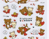San-X Rilakkuma Bear & Hearts Sticker Sheet - SE20501