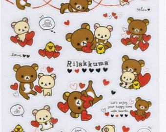 San-X Rilakkuma Bear & Hearts Sticker Sheet - SE20501