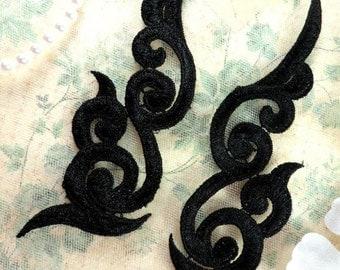 "GB249 Embroidered Appliques Black Scroll Design Mirror Pair 6.75"" (GB249X-bk)"