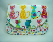 Card Keeper in Calico Cats in White - Credit Card Caddy - Business Card Holder - Ready To Ship