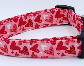 Cupids Arrow Red and White Hearts Love Kiss and Arrows on Pink Valentines Day Dog Collar