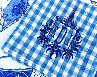 Blue and white gingham with pagoda monogram kitchen/tea towel