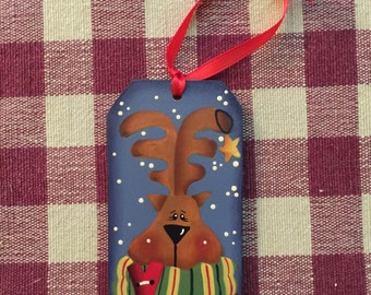 Reindeer Gift Tag Ornament, hand painted