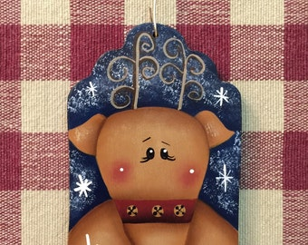 Adorable Reindeer Dark Blue Gift Tag Hand Painted Wood Christmas Ornament