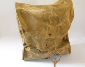 Vintage Cotton Canvas Backpack • Boy Scout Canvas Rucksack • Lightweight Day Pack