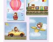 Girls room art, boyish girl art, girl in airplane, girl in train wall art, girl in hot air balloon poster, girl in car art, kids wall art
