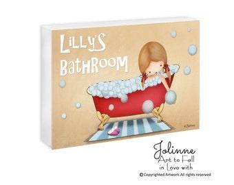 kids bathroom door sign, Personalized bath door sign, door hanger, children art, girls bathroom sign, girl in bath doorsign, kids art