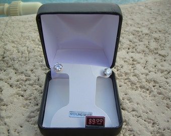 New in Box Vintage round cut 925 SS, unidentified white Diamond like stone stud earrings ~ Beautiful and super sparkly Great Gift