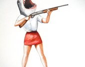 Great white shark with gun painting