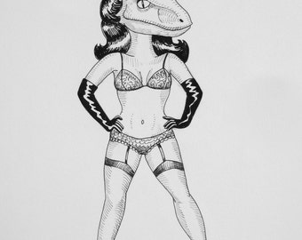 Velociraptor Pinup pen and ink drawing