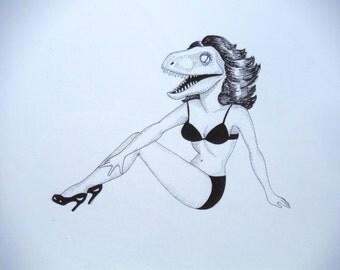 velociraptor pinup drawing