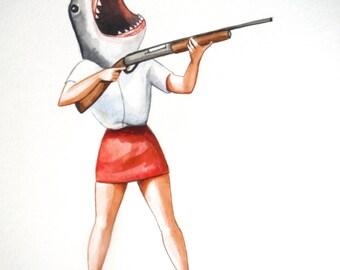 Great white shark with gun painting